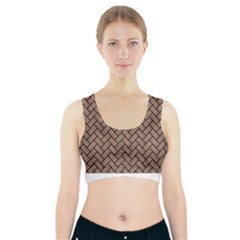 Brick2 Black Marble & Brown Colored Pencil (r) Sports Bra With Pocket