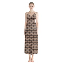 Brick1 Black Marble & Brown Colored Pencil (r) Button Up Chiffon Maxi Dress