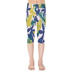 Tropics Leaf Yellow Green Blue Kids  Capri Leggings