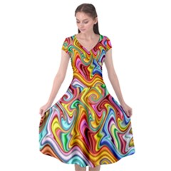 Rainbow Gnarls Cap Sleeve Wrap Front Dress
