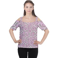 Broken Pattern E Women s Cutout Shoulder Tee