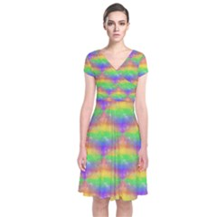 Painted Rainbow Pattern Short Sleeve Front Wrap Dress