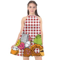 Red Gingham Food Halter Neckline Chiffon Dress