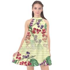 Khaki Pattern Berries & Vines Halter Neckline Chiffon Dress