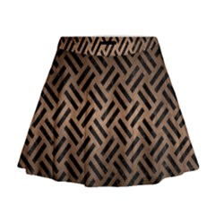 Woven2 Black Marble & Bronze Metal (r) Mini Flare Skirt