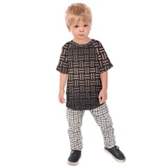 Woven1 Black Marble & Bronze Metal Kids Raglan Tee
