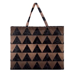 Triangle2 Black Marble & Bronze Metal Zipper Large Tote Bag