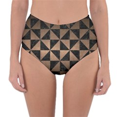 Triangle1 Black Marble & Bronze Metal Reversible High Waist Bikini Bottoms