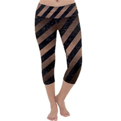 Stripes3 Black Marble & Bronze Metal Capri Yoga Leggings