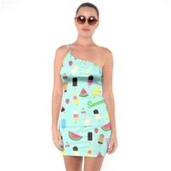 Summer Pattern One Soulder Bodycon Dress