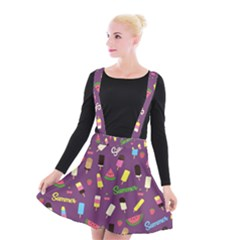Summer Pattern Suspender Skater Skirt