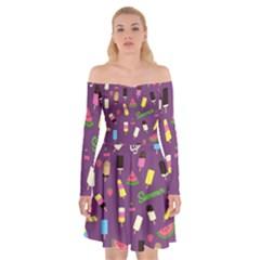 Summer Pattern Off Shoulder Skater Dress