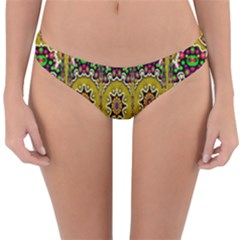 Rainbow And Stars Coming Down In Calm  Peace Reversible Hipster Bikini Bottoms