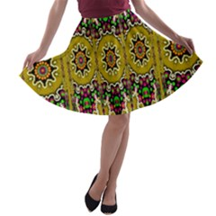 Rainbow And Stars Coming Down In Calm  Peace A Line Skater Skirt