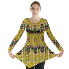 Rainbow And Stars Coming Down In Calm  Peace Long Sleeve Tunic