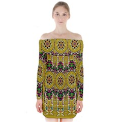 Rainbow And Stars Coming Down In Calm  Peace Long Sleeve Off Shoulder Dress