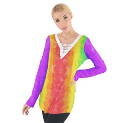 Striped Painted Rainbow Women s Tie Up Tee