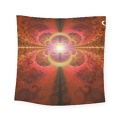 Liquid Sunset, A Beautiful Fractal Burst Of Fiery Colors Square Tapestry (small)