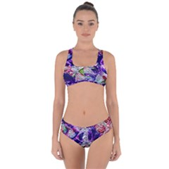 Floral Chrome 01a Criss Cross Bikini Set