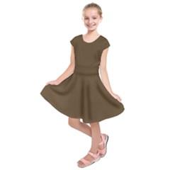 Brown Hide Solid Color  Kids  Short Sleeve Dress