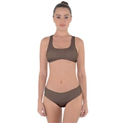 Brown Hide Solid Color  Criss Cross Bikini Set