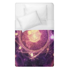 A Gold And Royal Purple Fractal Map Of The Stars Duvet Cover (single Size)
