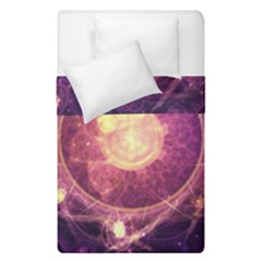 A Gold And Royal Purple Fractal Map Of The Stars Duvet Cover Double Side (single Size)