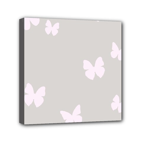 Butterfly Silhouette Organic Prints Linen Metallic Synthetic Wall Pink Mini Canvas 6  X 6