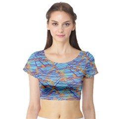 Geometric Line Cable Love Short Sleeve Crop Top (tight Fit)