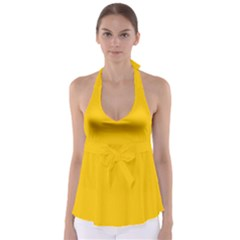 Amber Solid Color  Babydoll Tankini Top