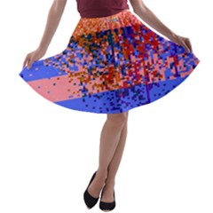 Glitchdrips Shadow Color Fire A Line Skater Skirt