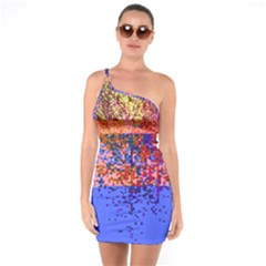 Glitchdrips Shadow Color Fire One Soulder Bodycon Dress