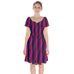 Photography Illustrations Line Wave Chevron Red Blue Vertical Light Short Sleeve Bardot Dress