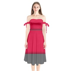 Red Gray Flag Line Horizontal Shoulder Tie Bardot Midi Dress