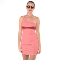 Coral Solid Color  One Soulder Bodycon Dress