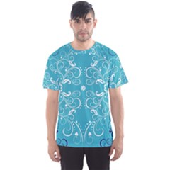 Repeatable Flower Leaf Blue Men s Sports Mesh Tee