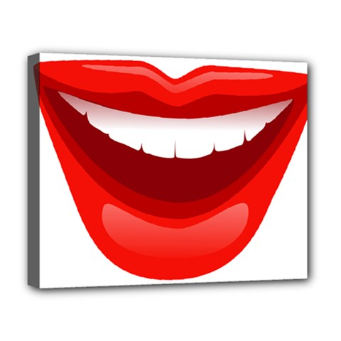 Smile Lips Transparent Red Sexy Deluxe Canvas 20  X 16