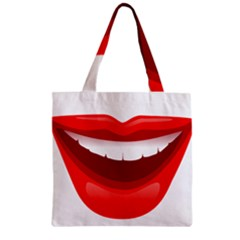 Smile Lips Transparent Red Sexy Zipper Grocery Tote Bag