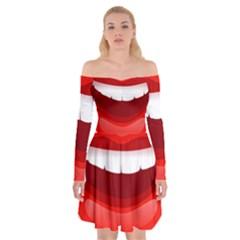 Smile Lips Transparent Red Sexy Off Shoulder Skater Dress