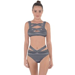 Shadow Faintly Faint Line Included Static Streaks And Blotches Color Gray Bandaged Up Bikini Set