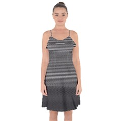 Shadow Faintly Faint Line Included Static Streaks And Blotches Color Gray Ruffle Detail Chiffon Dress