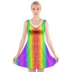 Vertically Striped Painted Rainbow V-Neck Sleeveless Dress