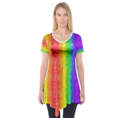 Vertically Striped Painted Rainbow Short Sleeve Tunic