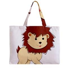 Happy Cartoon Baby Lion Medium Tote Bag