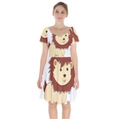 Happy Cartoon Baby Lion Short Sleeve Bardot Dress
