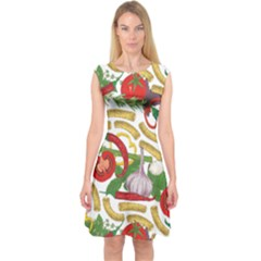 Red Tomatoes Capsleeve Midi Dress