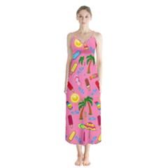 Beach Pattern Button Up Chiffon Maxi Dress