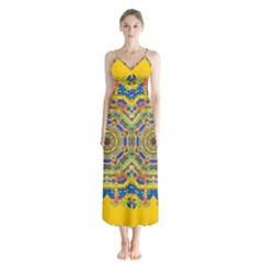 Happy Fantasy Earth Mandala Button Up Chiffon Maxi Dress