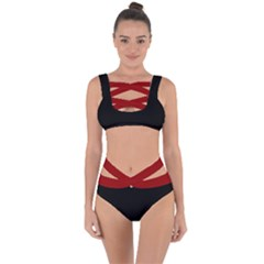 Black And Red Bandaged Up Bikini Set
