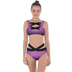 Purple And Black Bandaged Up Bikini Set